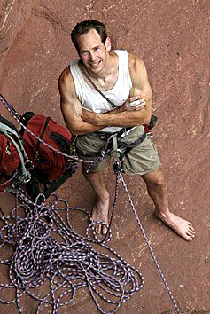 EH on a belay ledge, Fisher Towers, UT. McCallister photo.