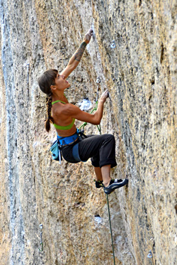 Marisa Aragon Ware keeping her cool while redpointing the super-sustained Esplanada (5.12d), Ten Sleep, WY. Hörst photo.