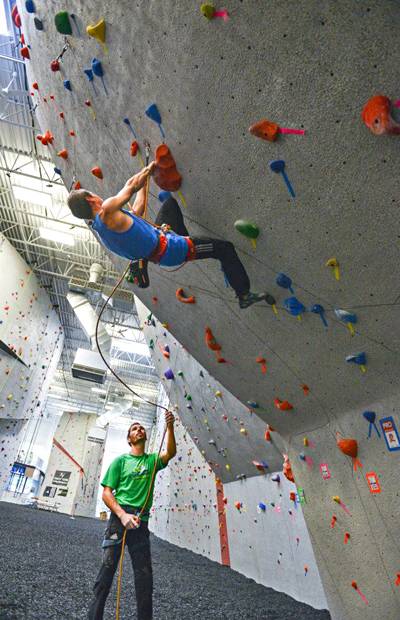 Carlos Traversi and Kevin Jorgeson flying up routes at Vertical Endeavors, Glendale Heights, IL.