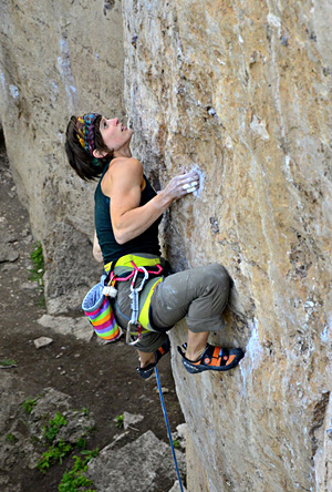 Samatha Caligiuri climbing hard at Ten Sleep Canyon, WY. Hörst photo.