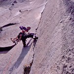 Climbing the classic Pancake Flake on The Nose of El Capitan, Yosemite, CA. McCallister photo.