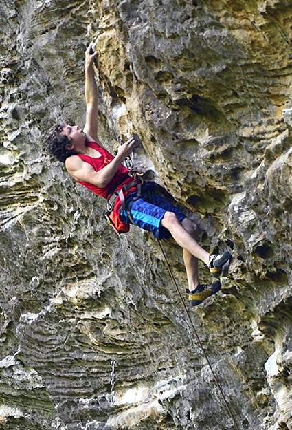 Jonathan Hörst (age 12) onsighting Convicted (5.13a/7c+), Red River Gorge, KY.