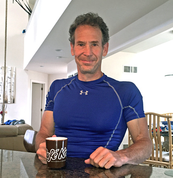 At home, enjoying a pre-workout Café!