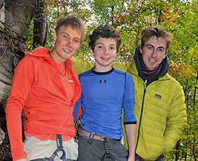 Alex Megos, Jonathan Hörst, and Felix Neumarker at the New River Gorge, Fall 2015.