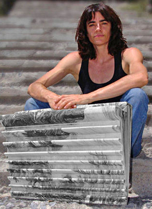 Eva Lopez-Rivera and her Transgression hangboard.
