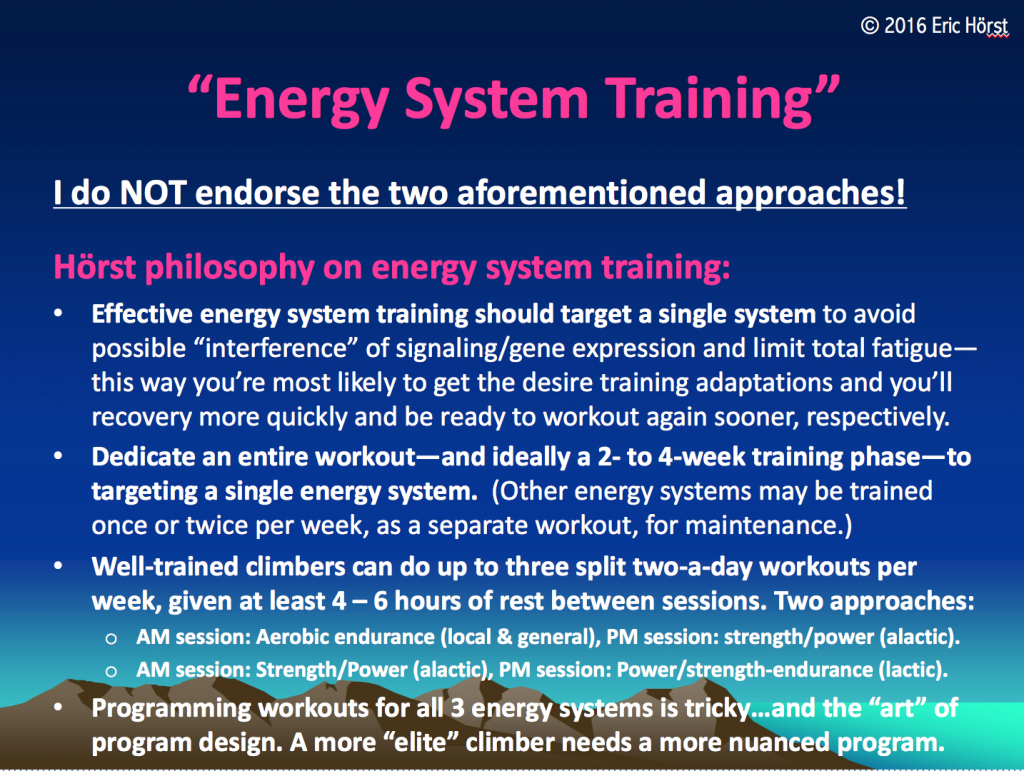 Hörst philosophy for energy system training.