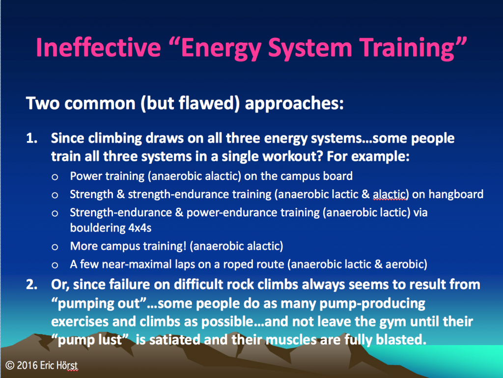 Poor/ineffective energy system training workouts.
