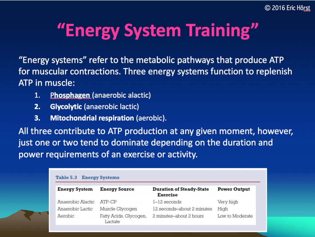 Overview of the three energy systems.