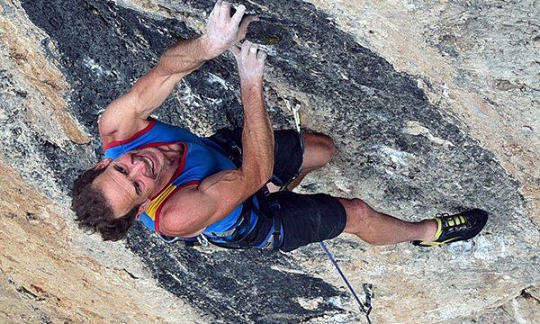 Eric Horst climbing at Ten Sleep Canyon, WY.