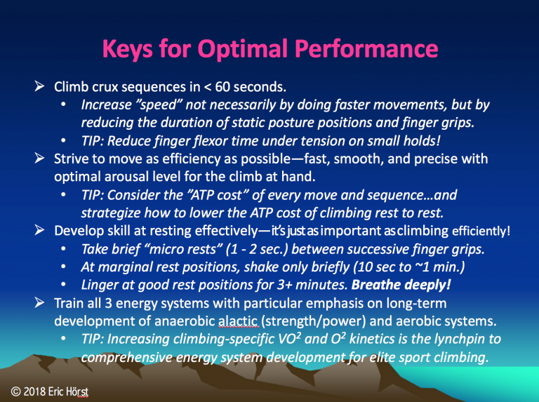 Keys for peak performance and training.