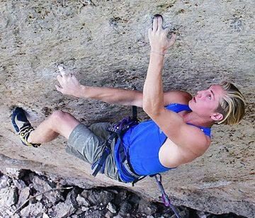 Cameron Horst climbing Thorwin' The Houlihan, Wild Iris. WY